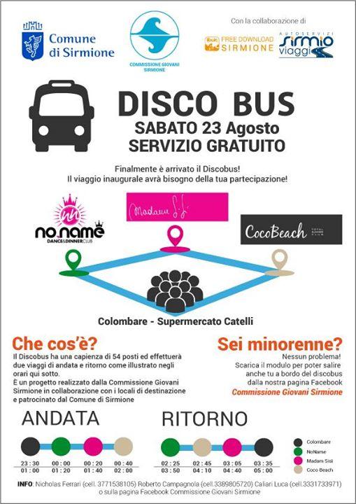 """Sirmione: """"Discobus + Disco - Rischio"""" l'autobus che ti porta in discoteca senza rischi"""